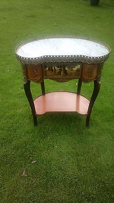 French Empire Bedside Chest Nightstand kidney shape marble top