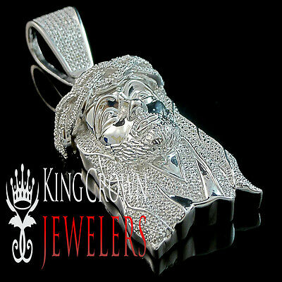 Mens Real Genuine Diamond White Gold Finish Jesus Face Piece Head Pendant Charm