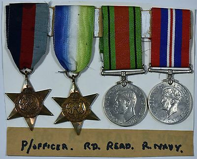 WW2 Group of 4 1939-45 Star, Atlantic Star, War and Defence Medals To P/Officer