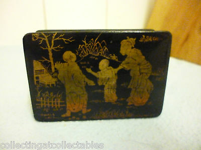 Antique Chinese Black Lacquer Box Painted Top Three Figures