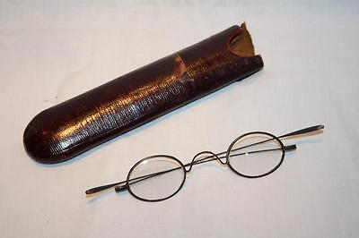 Antique Victorian Steel Wig Spectacles in Case c1860 VGC