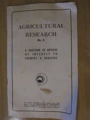 AGRICULTURAL RESEARCH No.4 FARMERS GRAZIERS 1960's BOOKLET COMMONWEALTH BANK