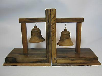 wooden book ends with bells