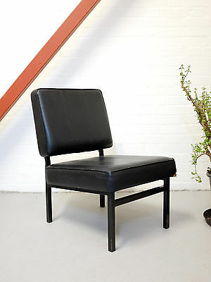 Mid century chair with metal structure | Minimal vintage armchair