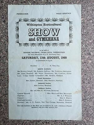 Grass track programme Withington Show 1960