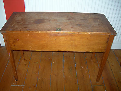 Wooden Blanket Sugar Utility Chest with High Legs c 1900 Vintage Antique Table