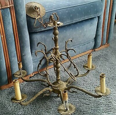 Antique Solid Brass Chandelier with Electric Candle Holders Made In Spain.