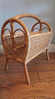 A Quality 1980's Wicker Magazine or Newspaper Stand - Clean & Strong