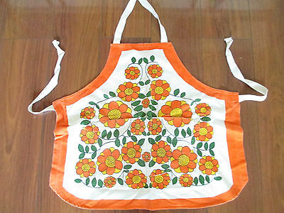 VINTAGE ORANGE FLOWER POWER 1970s APRON PINNY KITSCH WITH FRONT POCKETS