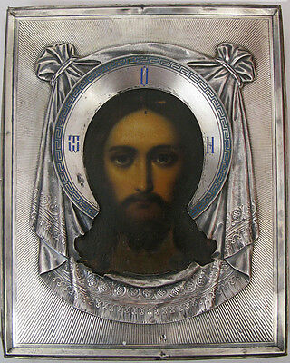 c1900 ANTIQUE RUSSIAN ORTHODOX SILVER ICON CHRIST IMAGE NOT MADE BY HUMAN HANDS