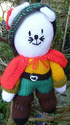 """Knitted Puss in Boots, Hand Hade Soft Toy 11"""" NEW"""