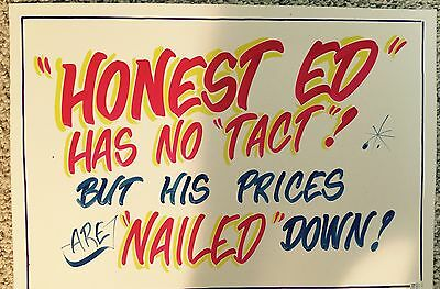 Honest Ed's Ed LOST HIS HEAD Hand Painted Authentic Stamped  SIGN