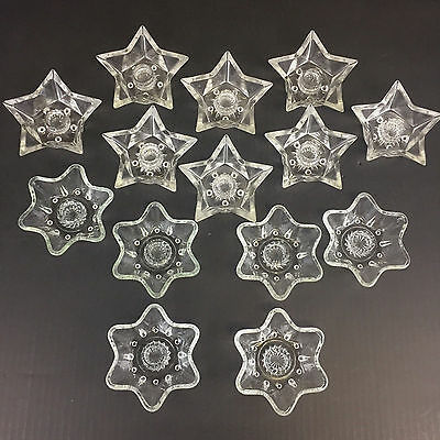 Vintage Clear Glass Star Candle Holders 5  & 6 Point Taper Mixed Lot of 14