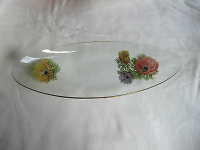 Vintage  Mid-Century Clear Glass Serving Dish With Flowers