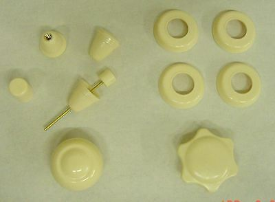VW Bug complete Ivory Dash Knob set accessory 1961-1964 new wiper w/ center butt