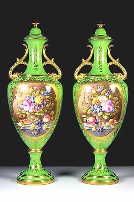 Antique Pair Of Coalport Vases & Covers Painted Flower Groups By A Bowdler V.725
