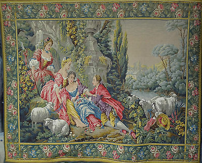 HUGE HANDWOVEN FRENCH WOOL & SILK Tapestry 5ft X 6ft AUBUSSON FREE  SHIPPING