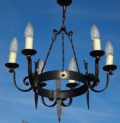 ANTIQUE FRENCH  WROUGHT IRON GOTHIC CHANDELIER 6 Lights FREE USA SHIPPING 20""