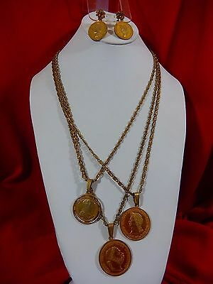 Rare Vtg Miriam Haskell Signed 3 Roman Coin 3 Strand Necklace & Dangle Earrings