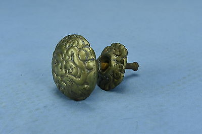 Antique LARGE VICTORIAN EMBOSSED BRASS DRAWER KNOB PULL HARDWARE OLD LOT #94A