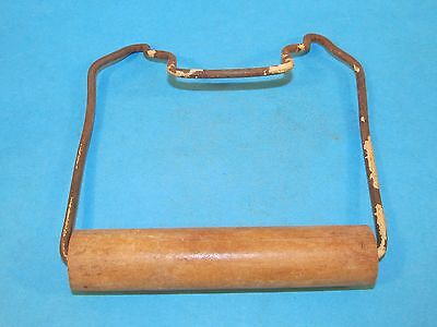 Vintage Wire Toilet Paper Tissue Holder + Wooden Roller Bathroom Cabin Decor