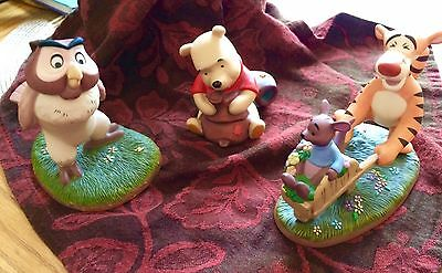 Pooh & Friends Ceramic Figurines- Pooh, Owl and Tigger with Baby Roo EUC No Box