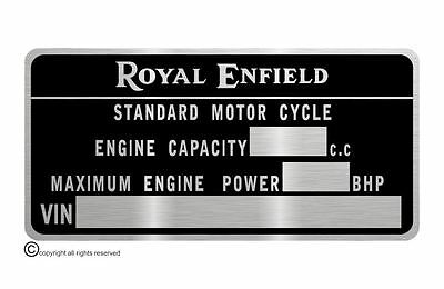 Royal Enfield M.O.T.  data plate quality vin-tage new