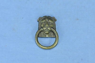 Antique VICTORIAN EASTLAKE LION HEAD BRASS SINGLE POST RING PULL HANDLE LOT 119A