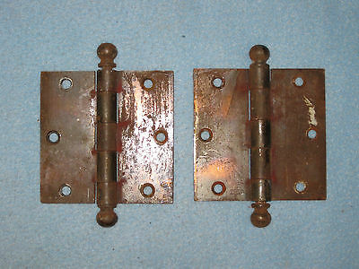 "(2) TWO Antique Vtg STANLEY 4"" X 4"" Cannon Ball Door Hinges USA"