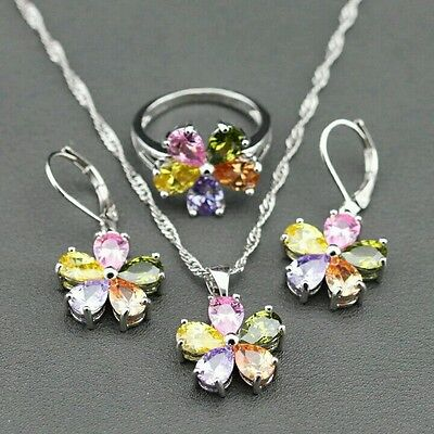 925 Sterling Silver Flower Style Colorful Gems Jewelry Set