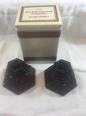 Pair of Avon 1876 Cape Cod Ruby Red  Candle Holders With Original Box