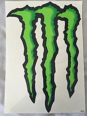 """Monster Energy Logo Sticker Decal Sheet 14"""" By 10"""" HUGE LARGE *BUY 2 GET 1 FREE*"""