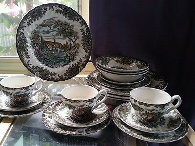 Myott Dinner Set For Four- 'The Brook' Made In England Fine Staffordshire