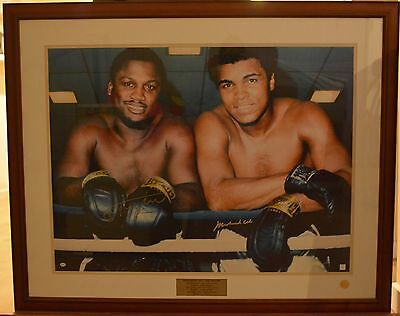 Muhammad Ali & Joe Frazier signed poster framed - with COA