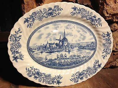 """Johnson Brothers """"Tulip Time"""" Oval Serving Platter Blue on Blue England (MM)"""