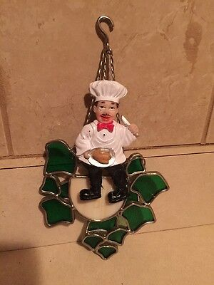 Vintage Fat Chef Stained Glass Window Hanging Decor Framed Flowerpot  Free Ship