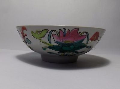 Chinese Republic Thinly Potted Kitchen Bowl Colorful Flowers Shop Mark