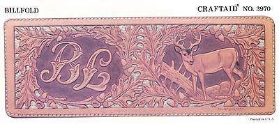 """Leather """"Craftaid"""" Hard Plastic Tooling Pattern #3970  Deer & Initials NEW!"""