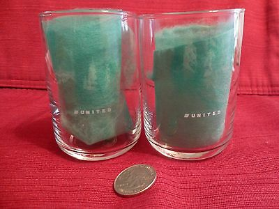 SET OF 2 UNITED AIRLINES LOGO SMALL DRINKING GLASSES TUMBLER  4 oz.