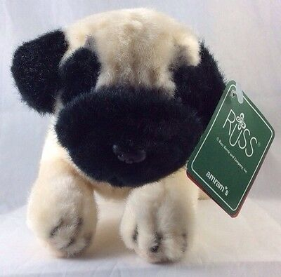The Pug Collar Russ Berrie Amram's Pet Puppy Dog Soft Toy Quality Plush 24785 8""