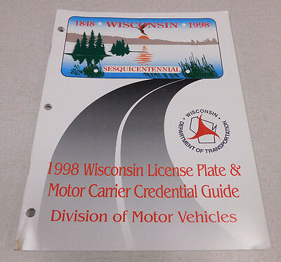 1998 Wisconsin License Plate & Motor Carrier Credential Guide DMV publication