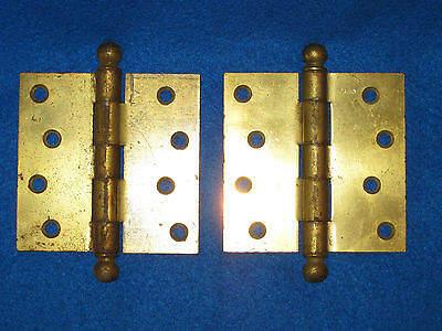 """(2) TWO Antique Vtg 4"""" X 4"""" GRIFFIN Cannon Ball Door Hinges"""