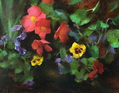 original oil painting antique look still life flower pansies on bronze pot small