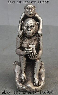 """6"""" Old Chinese Feng Shui Silver Zodiac Animal 2 Monkey Lucky Art Statue Figurine"""