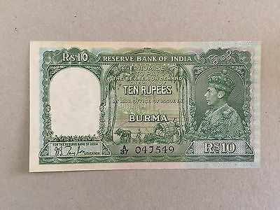 1938 BURMA RESERVE BANK OF INDIA aUNC 10 RUPEES NOTE GEORGE VI P#5 A37 047549