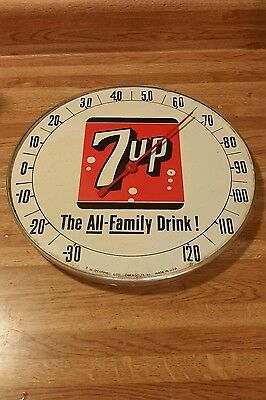 7up THE ALL FAMILY DRINK SODA POP round advertising thermometer sign cola pepper