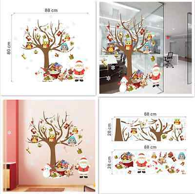Beautiful Christmas Tree Owls Santa Claus kids room Wall sticker wall decals