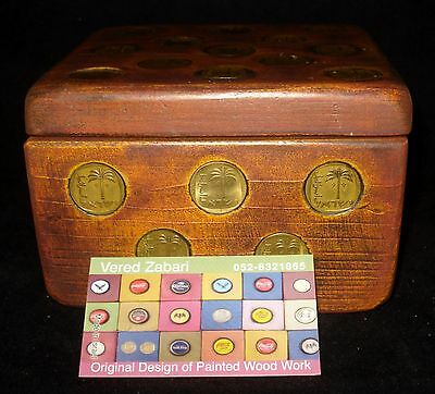 Vtg Judaica 70'S Israel Lidded Wood Box W/34 Palm Tree Coins Signed Vered Zabari