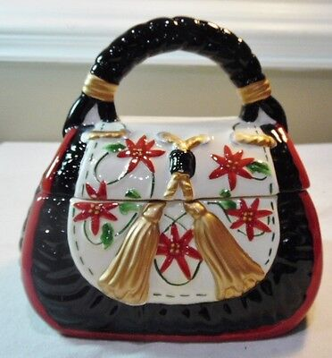 Davids Cookies Small Purse Cookie Jar Hand Painted Pottery Christmas Poinsettia