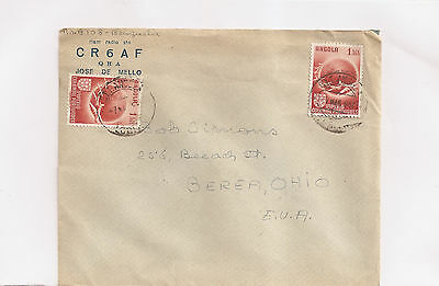 Angola  1950 - Air mail cover with 2 stamps +  to USA